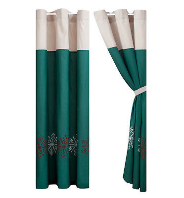 Primary image for 4-Pc Winter Wonderland Snowflake Curtain Set Teal Green Beige Brown Drape Sheer