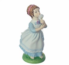 Avon Figurine vtg 1982 blowing cotton girl gift decor sculpture porcelai... - $24.14