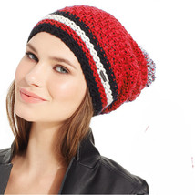 New STEVE MADDEN Cozy Knit Slouchy Pom Pom Beanie Womens Girls Hat OS Red - $8.99
