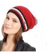New STEVE MADDEN Cozy Knit Slouchy Pom Pom Beanie Womens Girls Hat OS Red - $8.99