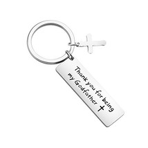 ENSIANTH Godfather Gift Thank You For Being My Godfather Keychain Baptis... - $13.01