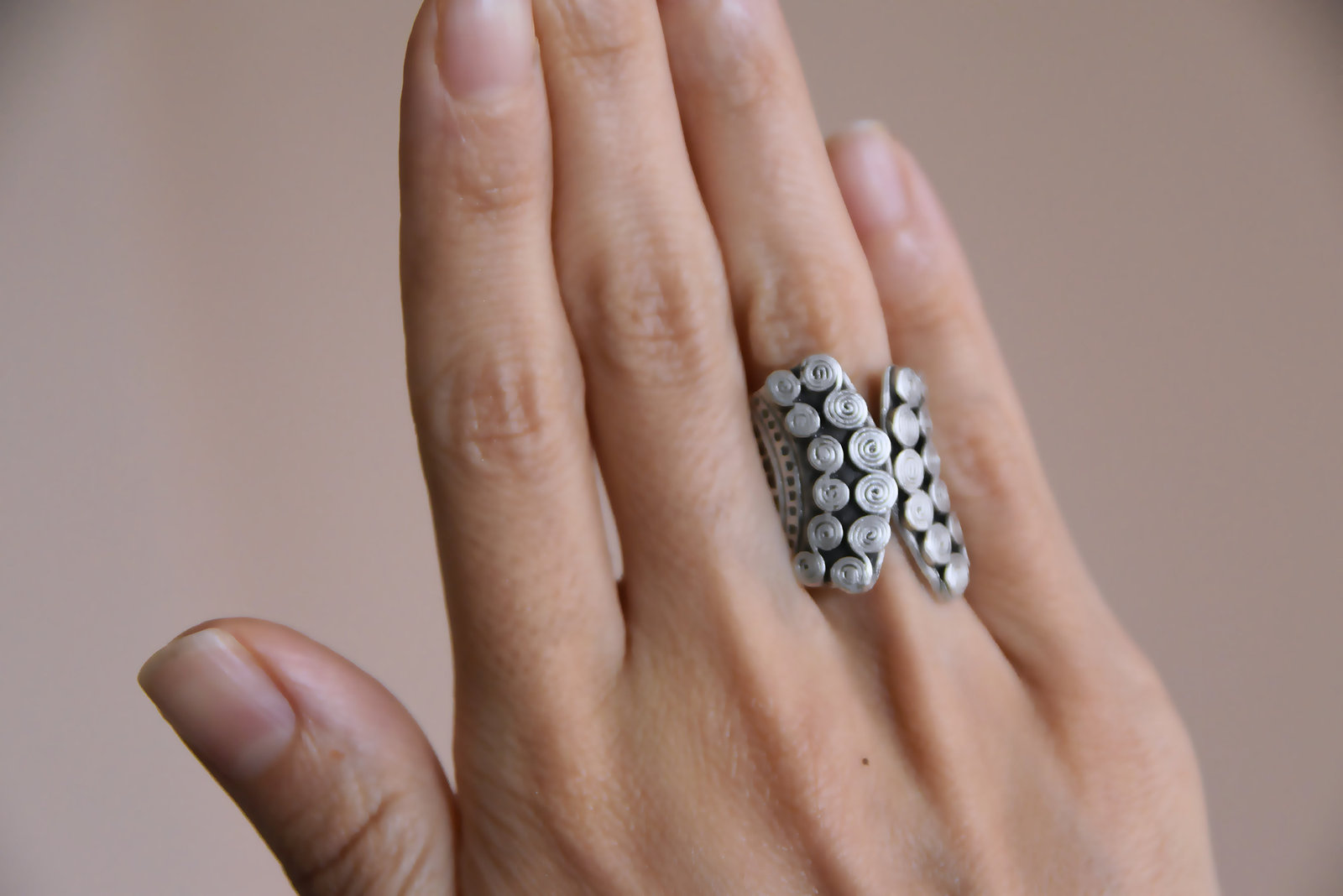Primary image for Antique silver ring, Open band ring, Geometric ring, Bohemian Jewelry, Ring