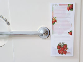 Strawberry Notepad with Magnet, 50 Sheets, Vintage Inspired Strawberries Pad image 4
