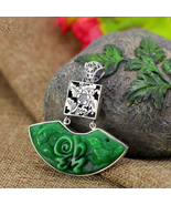 Exquisite Green Jade Necklace For Women 100% 925 Sterling Silver Necklaces  - $47.66