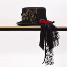 Gothic Red Rose Gear Steampunk Top Hat - ₹4,263.31 INR