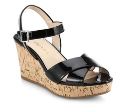 $695 Prada Wedge Cork Espadrille Crisscross Sandals Black Patent Shoes 37.5 - $273.00
