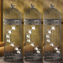 "3 Extra Large Birdcage Lantern Candleholder Wedding Centerpieces 9"" X 28"" Tall - $89.05"