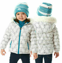 Snozu Toddler Girl's Hypoallergenic Puffy Down Jacket with Beanie White 2T NWT image 2