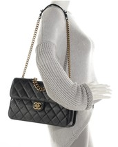 100% AUTH CHANEL BLACK PERFECT EDGE LARGE QUILTED LAMBSKIN 2-WAY FLAP BAG GHW image 10
