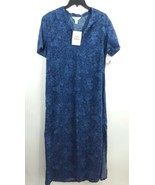 Talbots Size 6 Blue Floral Dress Full Length Sleeveless Button Front - $24.74