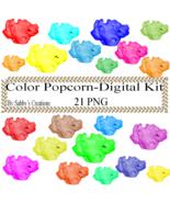 Color Popcorn Digital Kit 2-Digtial Paper-Food-Art ClipJewelry-T shirt-N... - $3.99