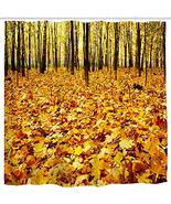 BROSHAN Autumn Leaves Shower Curtains, Fall Seasonal Orange Leaves in Tr... - $22.12