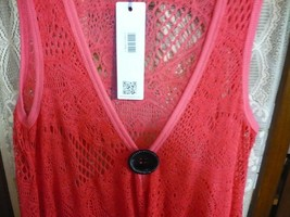 Crochet Beach Tunic blouse with pockets swimwear topper coverup Coral red - $25.00