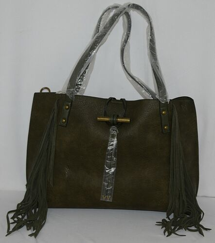 Simply Noelle Brand HB210 Sage Color Womens Fringed Toggle Loop Closure Purse