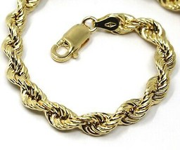 18K YELLOW GOLD BRACELET BIG 5.5mm BRAID ROPE LINK, 8 INCHES LONG, MADE IN ITALY image 2