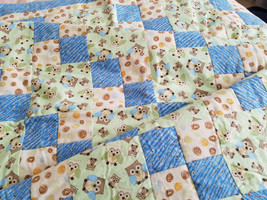 Life's a Hoot!  Baby Boy Owl Flannel Crib Quilt - $65.00