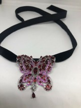 Vintage Butterfly Austrian Red Crystal Brooch Pin Necklace Choker - $106.92