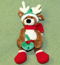 "10"" GUND CHRISTMAS PALS REINDEER STUFFED ANIMAL FLOPPY with PLUSH GREEN ... - $18.70"