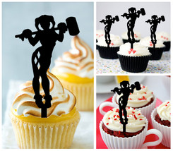 Ca453  Decorations cupcake toppers Harley Quinn Silhouette Package : 10 pcs - $10.00