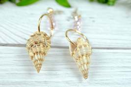 Beach Earrings, Mismatched natural Shell Dangle Earrings with Pink Crystal image 2