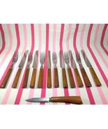 Beautiful Vintage 13pc Caramel Swirl Bakelite Knives and Forks + Pairing... - $50.00