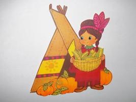 Vintage 70's Hallmark Thankgiving Die Cut Out Decoration Indian Tepee Pumpkins  - $8.00