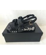 CHANEL 16C Black Sequin Pearl Camellia Flower Platform Heels Sandals Sho... - $990.00