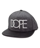 Dope Logo Gray & Black Wool Snapback Flat Bill Cap Hat - $20.85