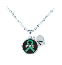 Custom Primary Peritoneal Cancer PPC Awareness Silver Necklace Jewelry Initial - $15.80