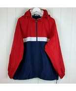Tek Gear Mens XL Rain Jacket Lightweight Coat Hood Red White Blue Zips P... - $24.70