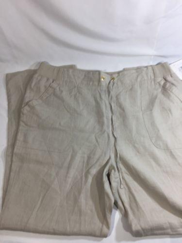 Ellen Tracy Women Light Brown Pants Stretch  Sandstone Linen Size XL