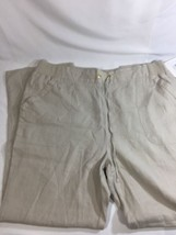 Ellen Tracy Women Light Brown Pants Stretch  Sandstone Linen Size XL - $18.70
