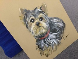 YORKIE ORIGINAL PAINTING  REALISTIC! HAND PAINTED CANVAS - $108.90