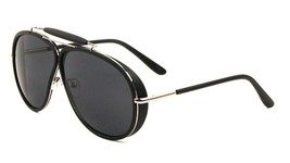 Oversized Outdoorsman Aviator Sunglasses w/ Brow Bar & Side Shields Blac... - $13.96