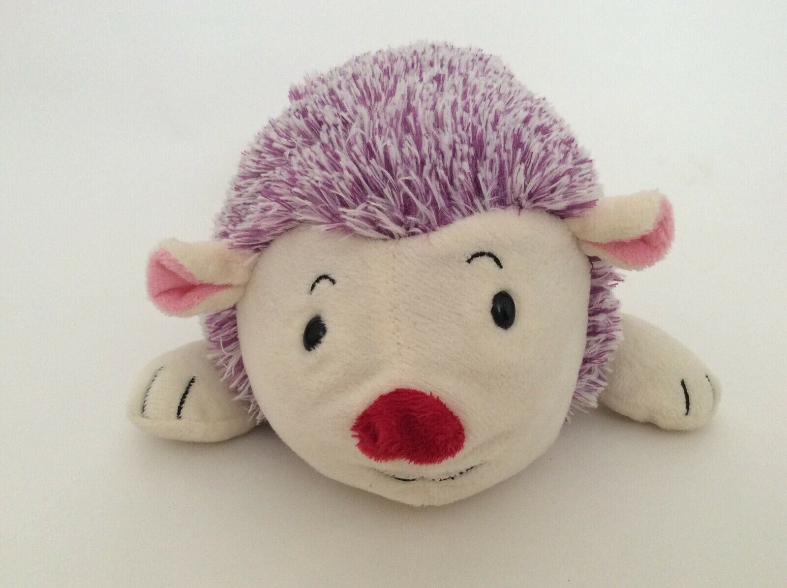 "ANIMAL ADVENTURE purple cream ivory HEDGEHOG W/ PINK HEART 8"" Valentines plush"