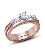 Engagement Bridal Ring Set 925 Sterling Silver 14k Rose Gold Plated Roun... - $75.31