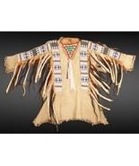 Mens Native American Buckskin Beige Buffalo Leather Bead War Shirt WS133 - $399.00