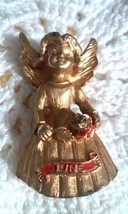 Vintage Signed Creed JUNE Birthday Angel & Rose Pin Brooch Gold Tone - $2.85