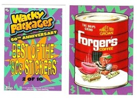 """2017 Wacky Packages 50th Anniversary Best of the 80's Stickers """"FORGER'S"""" #2. - $1.00"""