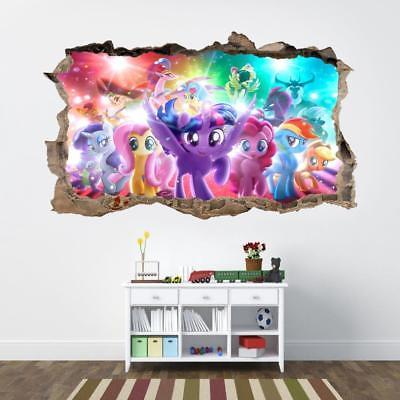 My Little Pony Movie 3D Smashed Wall Sticker Decal Home Decor Art Mural J790 for sale  USA