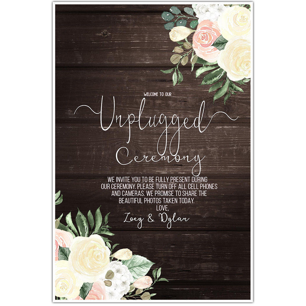 Story Wedding Ceremony Processional Music Song Ideas: Wood And Flowers Unplugged Wedding Ceremony Sign Poster