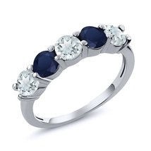 1.14Ct Natural Sky Blue Aquamarine Blue Sapphire Wedding Band Rings For ... - $153.58