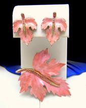 Vintage Rhinestone Enamel Brooch Earring Set Feminine Pink - $28.22