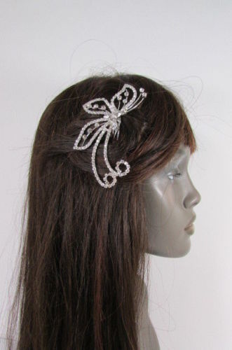 Women Silver Metal Head Fashion Jewelry Butterfly Hair Pin Bridal Wedding Party image 9