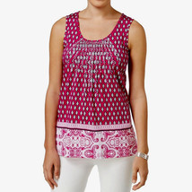Charter Club Womens Embroidered Printed Tank Top in Royal Fuchsia, Large - $22.76