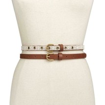INC Women's Natural Non Leather Solid / Crochet 2 For 1 Belt Size L - $8.56