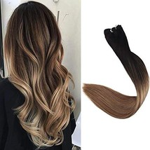Full Shine 14 Inch Sew In Hair Extensions Weft Human Hair Balayage Color 1B/8/22