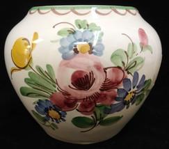 Ulmer Keramik Vase Bowl Hand Painted Floral Flower Design Original Stick... - $12.86