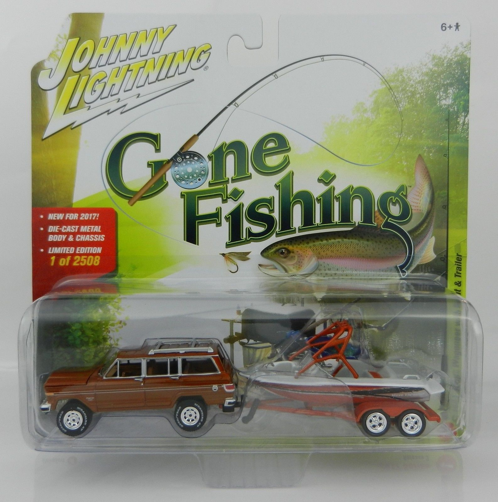 1:64 JOHNNY LIGHTNING GONE FISHING REL 3A - 1981 JEEP WAGONEER WITH BOAT & TRAIL for sale  USA