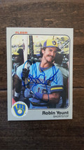 1983 FLEER SIGNED AUTO ON CARD ROBIN YOUNT MILWAUKEE BREWERS HALL OF FAM... - $39.59